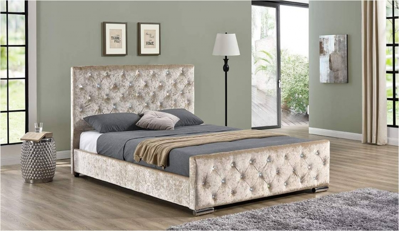 Beaumont Diamante Bed - Champagne