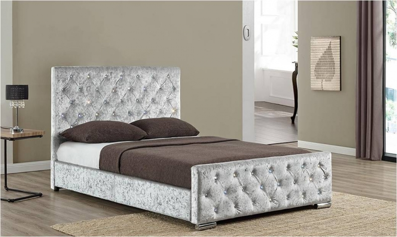 Beaumont Diamante Bed - Silver