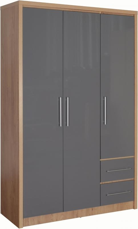 Sevile 3 Door Wardrobe - Grey