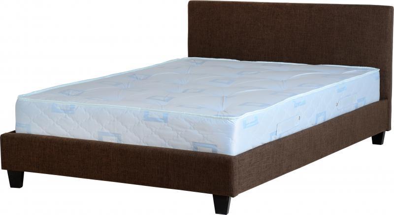 Prado King Size Bed - Brown Fabric