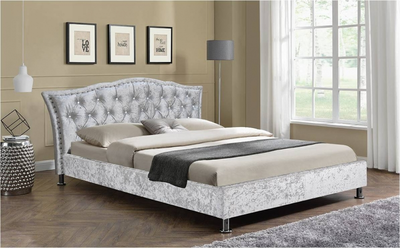 Georgio Fabric Bed - Silver