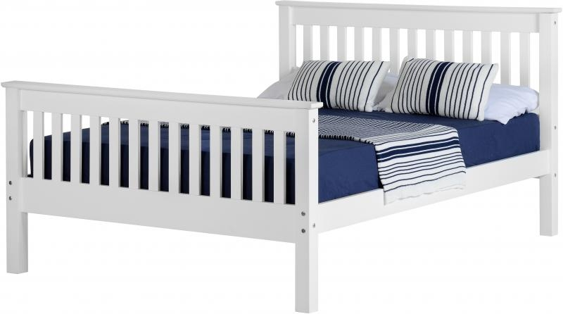 Monaco Double Bed High - White