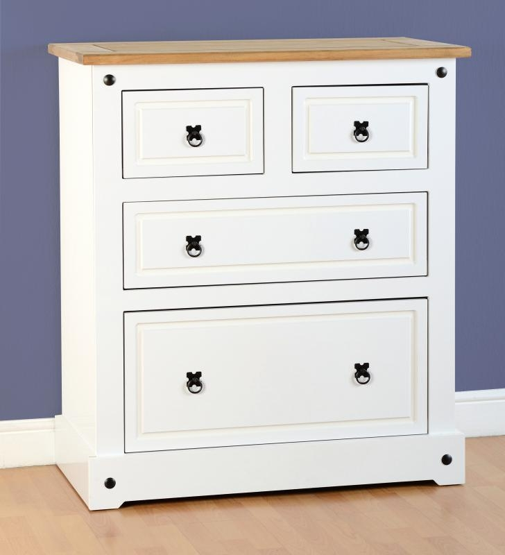 Corona 2+2 Drawer Chest - White