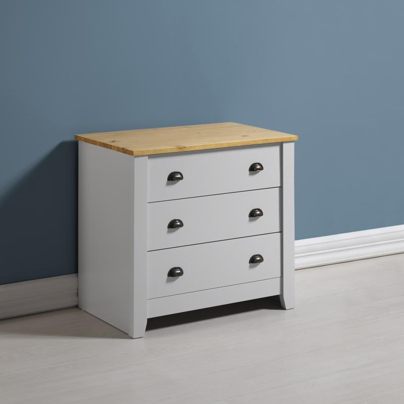 Ludlow 3 Drawer Chest - Grey