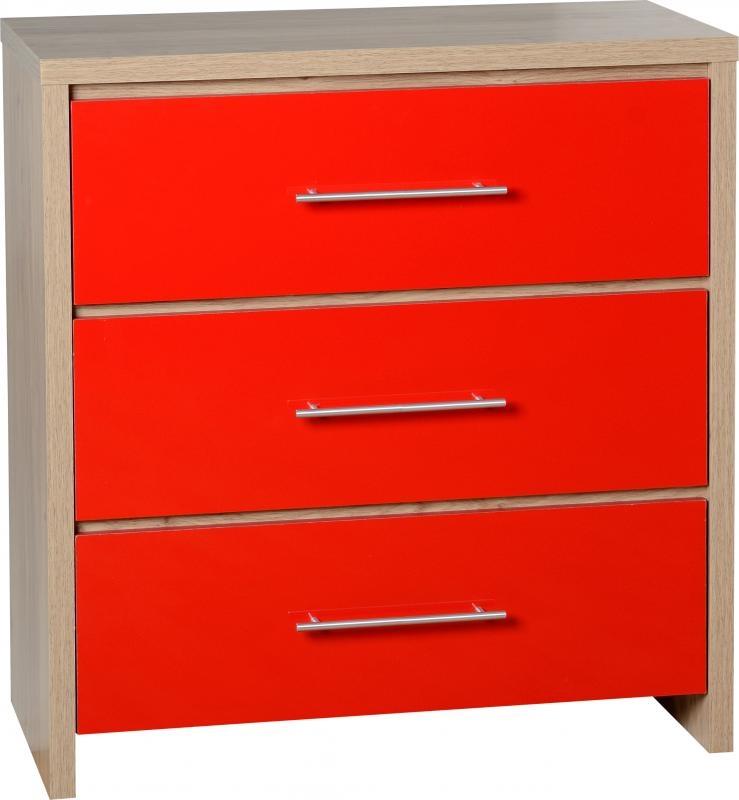 Seville 3 Drawer Chest - Red