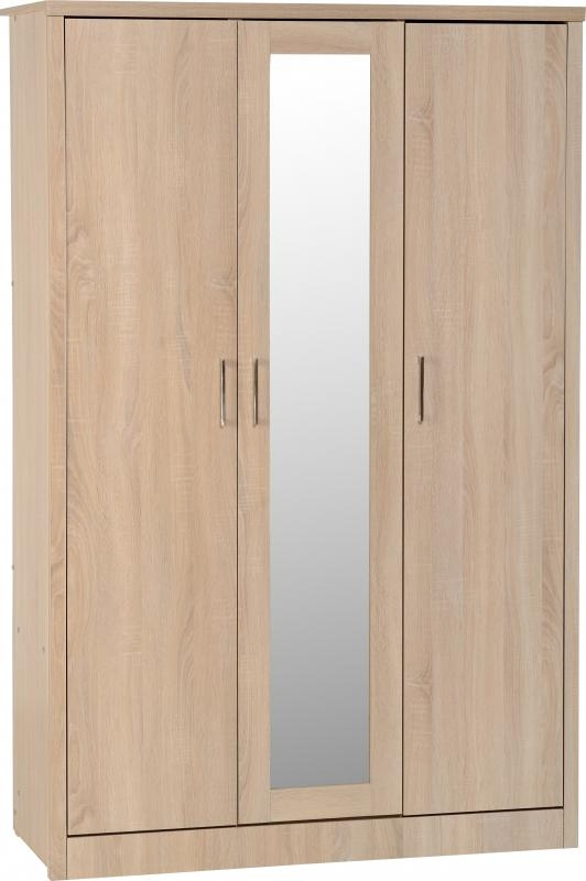 Lisbon 3 Door Wardrobe - Oak