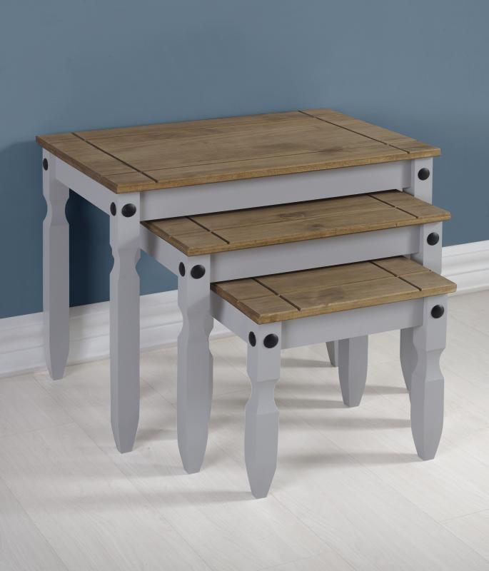 Grey Corona Nest Of Tables Grey Living Room Furniture