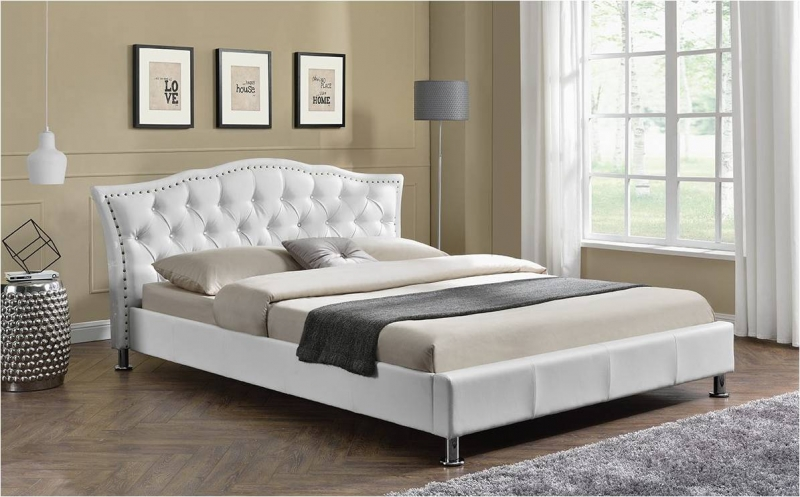 Georgio Fabric Bed White Modern Designer Beds