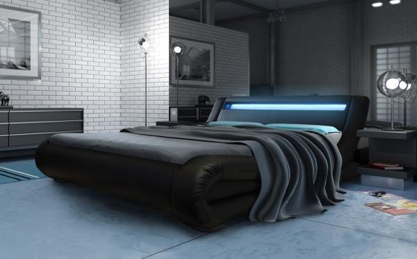 Modern designer beds 187 madrid led bed black