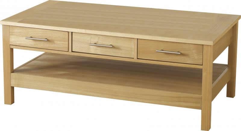 Oakleigh 3 Drawer Coffee Table Oak Veneer Coffee Table Flatpack2go