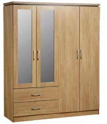 Charles 4 Door Oak Veneer Mirrored Wardrobe Flatpack2go