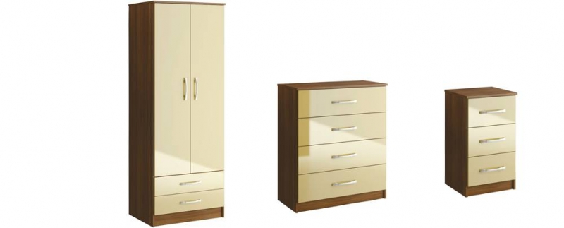 Bedroom Sets Lynx High Gloss Walnut Cream