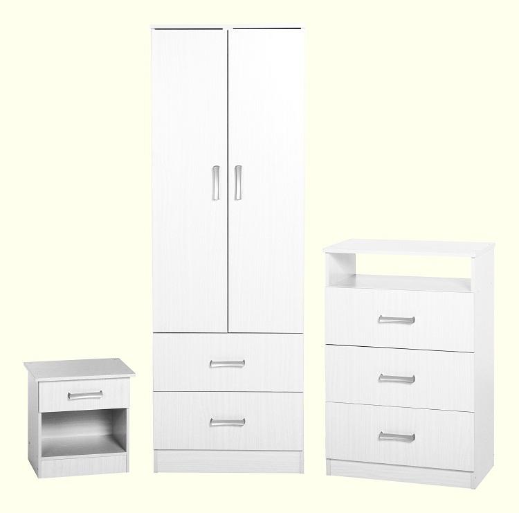 Flat Pack Bedroom Furniture Polar Bedroom Set White Flatpack2go