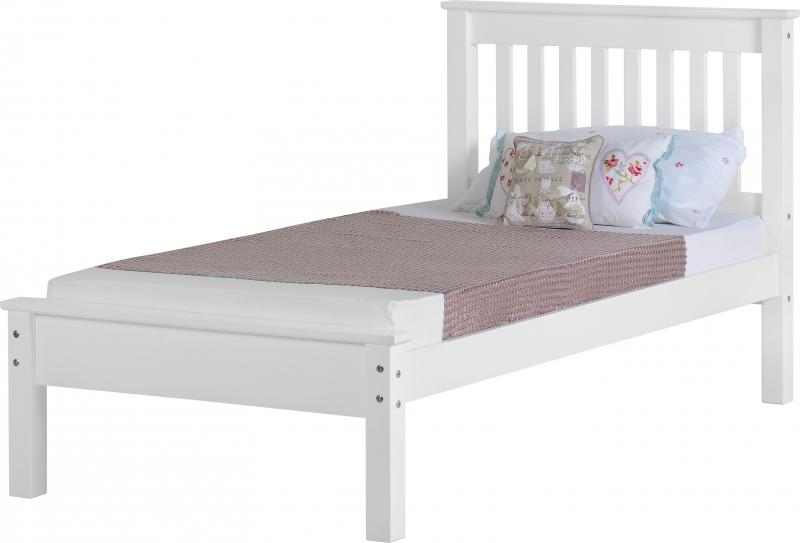 Monaco Single Bed Low White Wooden Beds