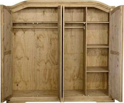 Corona Mexican Pine Flat Pack 4 Door Wardrobe Flatpack2go