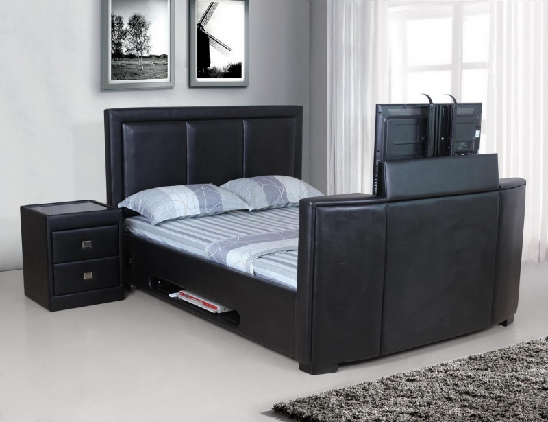 king size tv bed double tv bed beds from flat pack 2 go. Black Bedroom Furniture Sets. Home Design Ideas