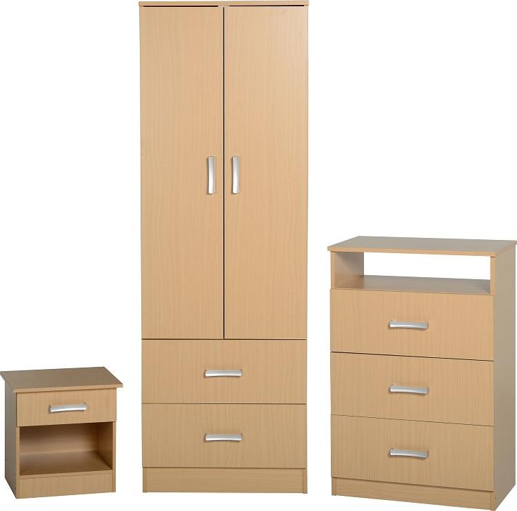 Flat Pack Bedroom Furniture Polar Bedroom Set Beech Flatpack2go
