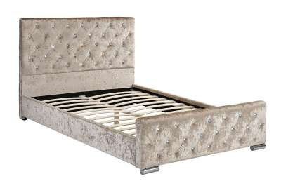 Beaumont Diamante Bed Champagne Fabric Beds