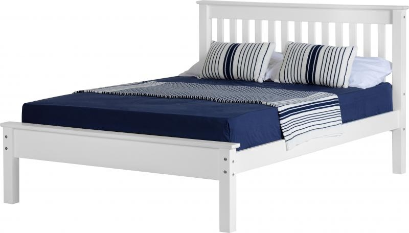 Monaco double bed low white wooden beds - Low double bed images ...