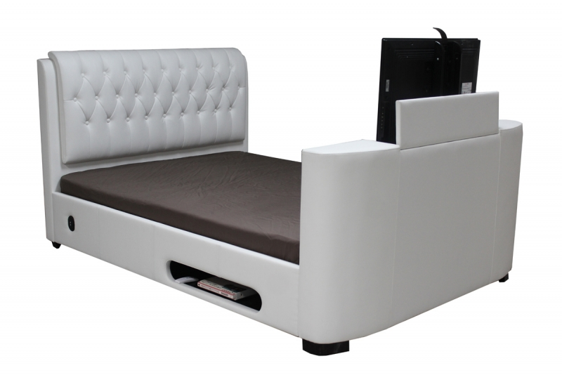 Astounding Cosmo Double Tv Bed Faux Leather Beds Machost Co Dining Chair Design Ideas Machostcouk