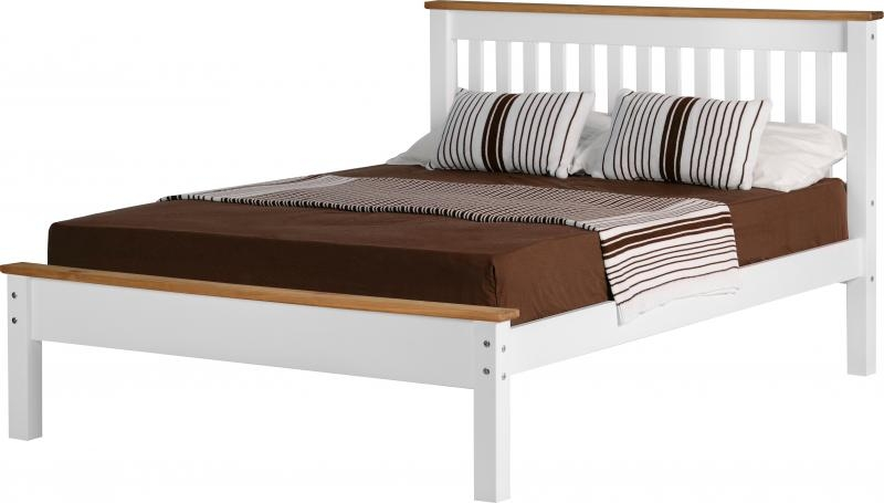 Corona double bed low white wooden beds - Low double bed images ...