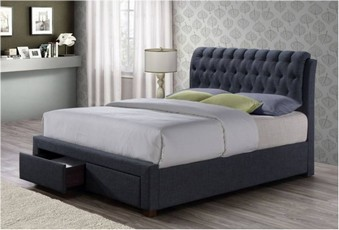 Valentino Fabric Bed - Charcoal