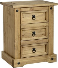 Corona 3 Drawer Bedside Table