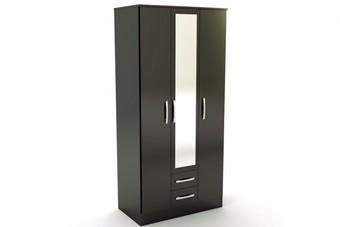 Lynx 3 Door 2Drw Wardrobe - Black
