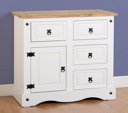 Corona 1 Door Sideboard - White