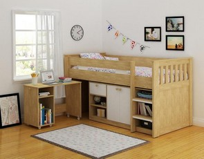 Merlin Study Bunk - Oak - White