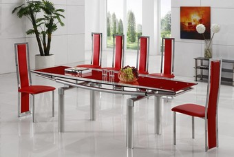 Delta 601 Ext Dining Set - Red